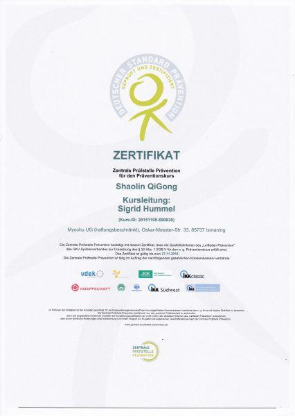 Zertifikat Shaolin QiGong