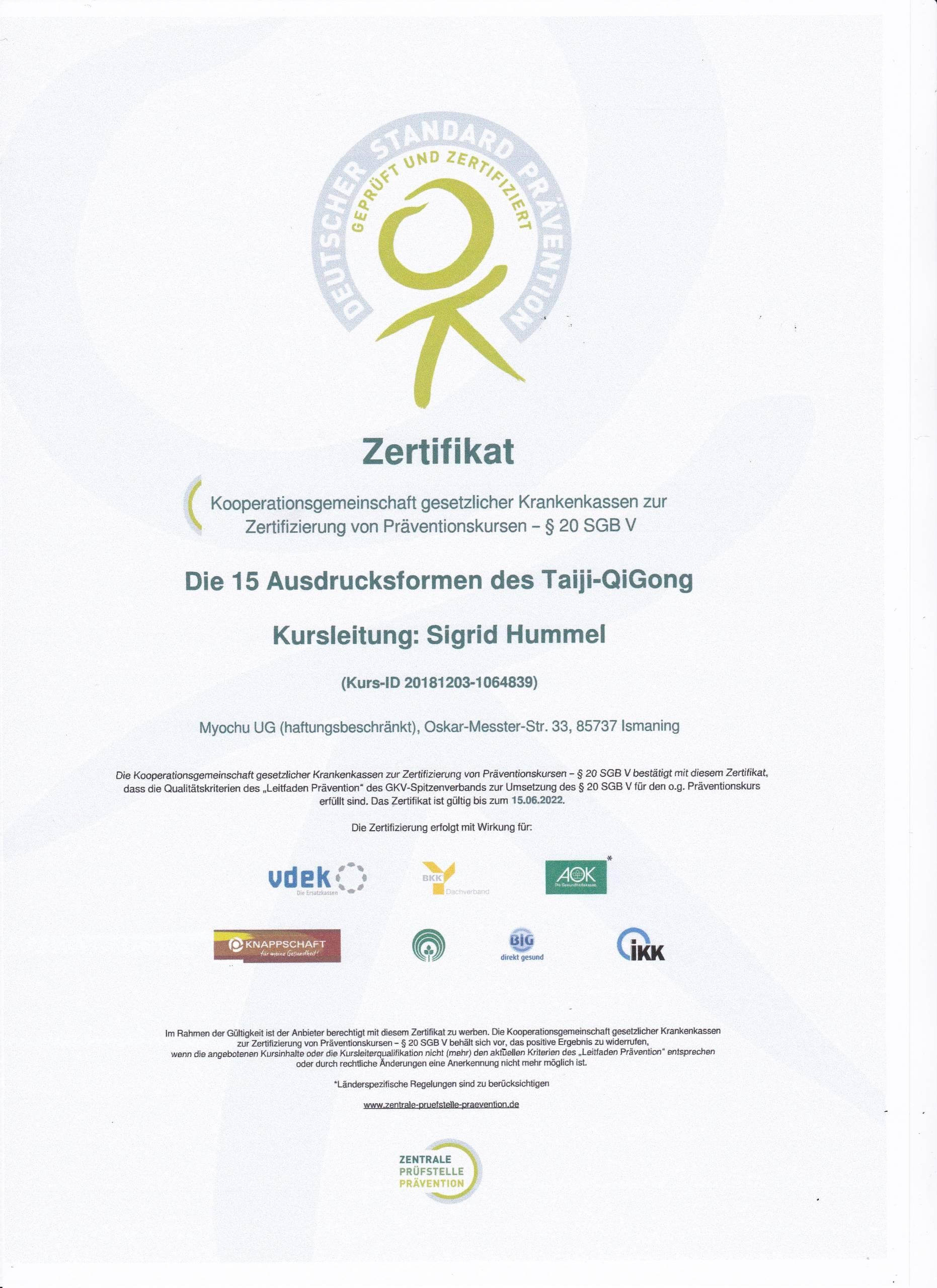 Zertifikat 15 Formen Taiji QiGong